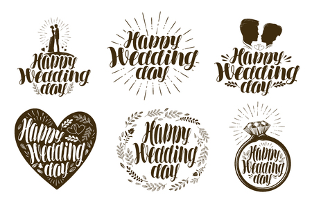 happy woman: Happy Wedding day, label set. Married couple, love icon or logo. Lettering vector illustration
