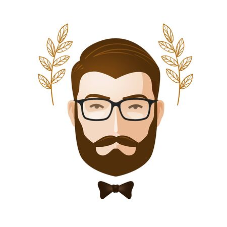Portrait of men. Bearded man with glasses. Erudite, gentleman icon or symbol. Cartoon vector illustration Banco de Imagens - 76305086