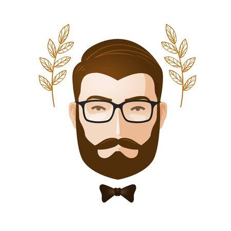 Portrait of men. Bearded man with glasses. Erudite, gentleman icon or symbol. Cartoon vector illustration