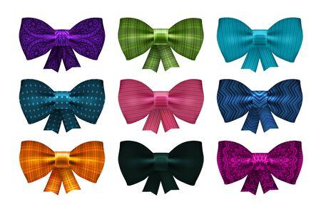 birthday party: Set of satin bows. Bowknot, ribbon for decoration gift box. Vector illustration Illustration