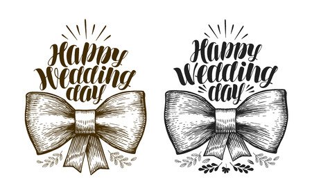 ribbon: Happy Wedding day, label. Marriage, wed banner Lettering vector illustration Illustration