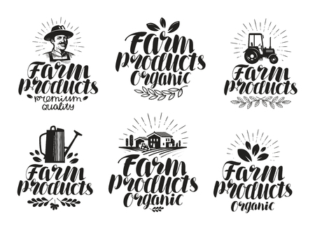 industry: Farm products, label set. Farming, agriculture icon or symbol. Handwritten lettering vector illustration isolated on white background