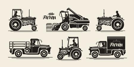 hard: Farm icons set. Farmer, harvester, tractor, truck symbol Vintage vector illustration Illustration