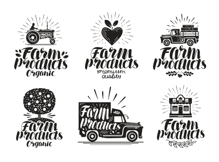 Farm product, label set. Agriculture, farming icon or logo. Lettering, calligraphy vector illustration