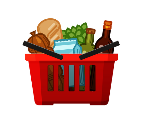 Grocery shopping. Basket, store, food and drinks icon. Cartoon vector illustration