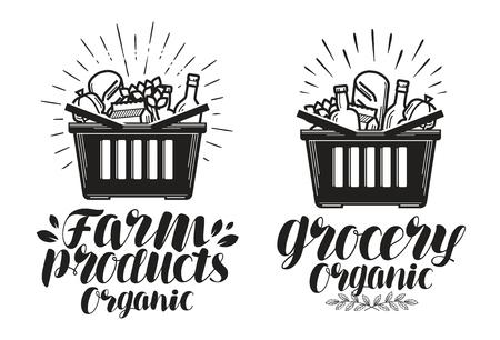 生鮮食品のショッピング バスケット。食料品や農産物、ラベルを付けます。手書きレタリング、書道ベクトル図