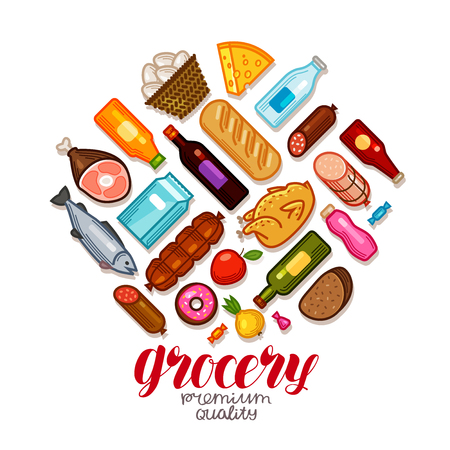 Grocery store, banner. Food and drinks icons set. Vector illustration Illustration