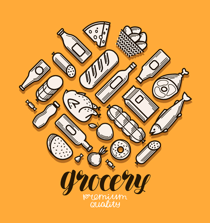 Food and drinks icons set. Grocery store banner. Vector illustration Vector Illustration