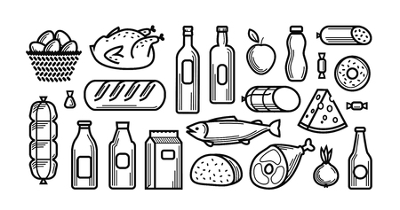 gastronome: Grocery store. Food and drinks icons set. Vector illustration