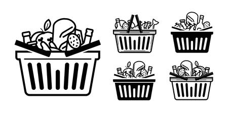 食料品店のアイコン。ショッピング カートや食べ物や飲み物と完全なバスケット。ベクトル図  イラスト・ベクター素材
