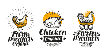 Chicken, hen label set. Poultry farm, egg, meat, broiler, pullet icon or logo. Lettering vector illustration Reklamní fotografie - 77073849