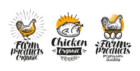 Set di etichette di pollo, gallina. Logo di pollame, uova, carne, carne di pollo, pollastra o logo. Illustrazione vettoriale Logo