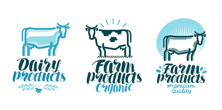 food: Dairy products, label set. Cow, farm animal, milk, beef icon or logo. Lettering vector illustration