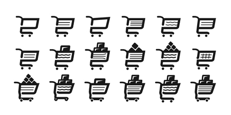 gift basket: Shopping cart, set icons. Supermarket, grocery store, pushcart symbol or logo. Vector illustration