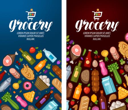 gastronome: Grocery, food shop, supermarket label. Banner design template. Vector illustration