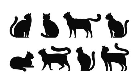 Cat silhouette, set icons. Pets, kitty, feline, animals symbol. Vector illustration