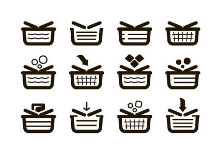 shopping malls: Shopping basket, set icons. Shop, buy, sale symbol. Vector illustration Illustration