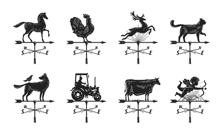 hamlet: Weather vane silhouette, set icons. Windvane, weathervane symbol or logo. Vintage vector illustration