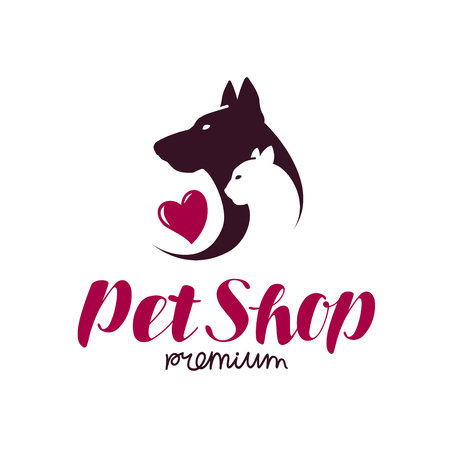 silueta de gato: Pet shop or vet clinic logo. Animals, cat, dog icon or label. Lettering vector illustration isolated on white background Vectores