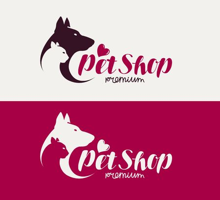 pet store advertising: Pet shop or veterinary clinic logo. Animals, dog, cat icon. Lettering vector illustration