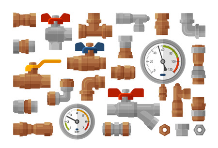 Sanitary engineering, plumbing equipment set icons. Manometer pressure, meter, industry, fittings, water supply concept. Vector illustration Illustration