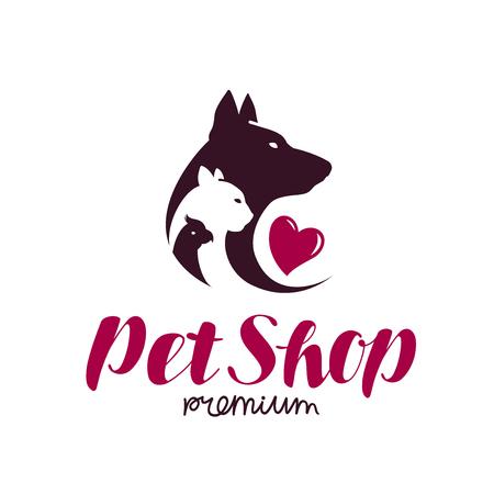 Pet shop logo. Animal shelter, dog, cat, parrot icon or label. Lettering vector illustration Illustration