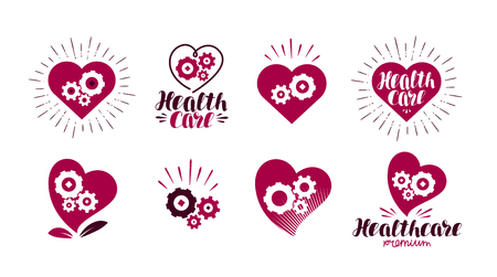 Health, healthcare logo. Heart, gears, vital energy icon or symbol. Label vector illustration