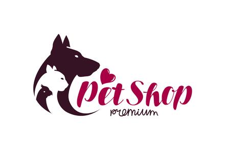 silueta de gato: Logotipo de la tienda de mascotas. Animales gato, perro, loro icono. Ilustración del vector