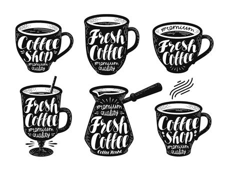 vigor: Fresh coffee, label set. Espresso, mug, hot drink icon or logo. Handwritten lettering vector illustration