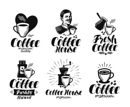 Kawa, zestaw etykiet espresso. Kawiarnia, kawiarnia, kafeteria, gorący napój symbol lub logo. Ilustracji wektorowych litery