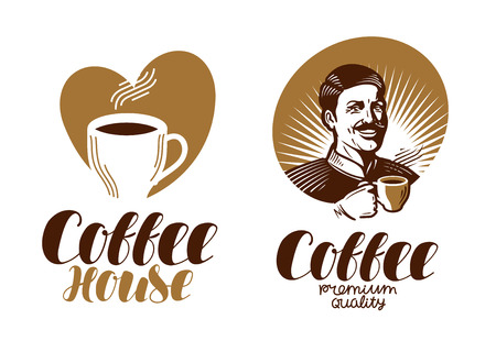 macchiato: Coffee logo. Cafe, espresso, coffeehouse, cafeteria icon or label. Lettering vector illustration