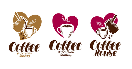 freshly: Coffee, coffeehouse label set. Cafe, cafeteria, hot drink logo or icon. Handwritten lettering vector illustration