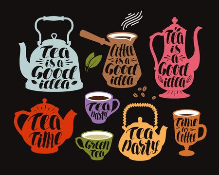 Pić, herbatę, zestaw etykiet kawy. Zbiór elementów dekoracyjnych do restauracji lub kawiarni menu. Litera, ilustracji wektorowych kaligrafii Ilustracje wektorowe