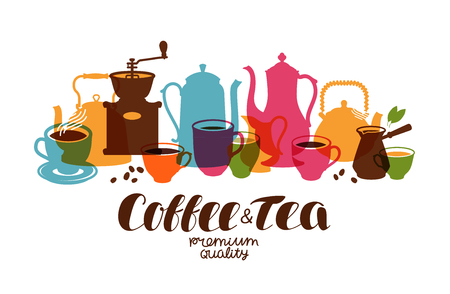 Drinks, tea, coffee banner. Design template for restaurant menu or cafe. Vector illustration