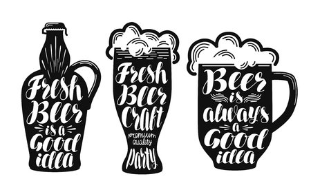 Beer, ale label set. Collection decorative elements for menu restaurant or pub, bar. Lettering, calligraphy vector illustration Illustration