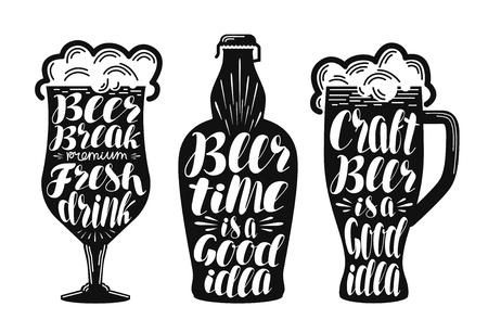 lager beer: Beer, ale, lager label set. Alcoholic beverage, drink, pub, brewery symbol or icon. Lettering, calligraphy vector illustration