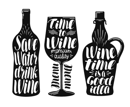 Wine, winery label set. Collection decorative elements for menu restaurant or cafe, bar. Lettering, calligraphy vector illustration Illustration