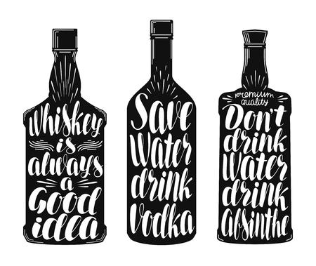 bebidas alcohÓlicas: Drinks, alcoholic beverages label set. Whiskey bottle, vodka, absinthe icon or symbol. Handwritten lettering vector illustration
