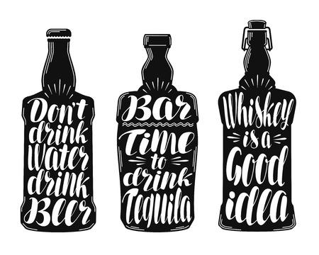 scotch: Alcohol drink, beverage label set. Collection decorative elements for menu restaurant or pub, bar. Lettering, calligraphy vector illustration