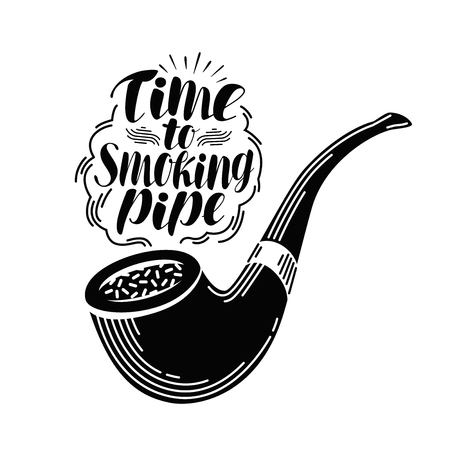 Smoking pipe, tobacco label. Handwritten lettering, calligraphy vector illustration isolated on white background Illustration