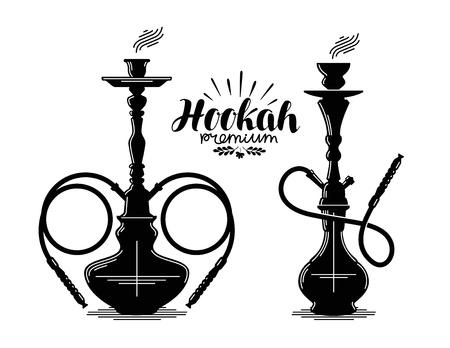 waterpipe: Hookah label set. Shisha, hooka, waterpipe, hubble-bubble, nargile icon or symbol. Vector illustration