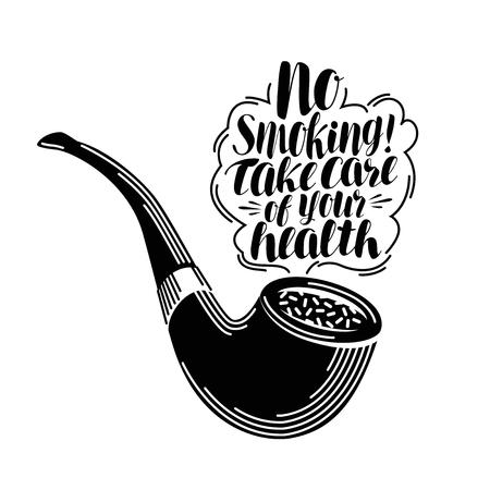 Rauchen, Schriftzug. Typografische Gestaltung, Tabak. Kalligraphie Vektor-Illustration