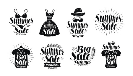 sundress: Summer sale, label set. Fashion, boutique, clothes shop, shopping icon or logo. Handwritten lettering, calligraphy vector illustration