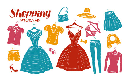 Shopping, fashion, clothes shop, boutique banner. Clothing silhouettes. Vector illustration 向量圖像