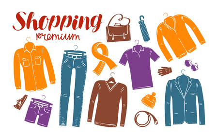clothing shop: Shopping, fashion, clothes shop, boutique banner. Clothing silhouettes. Vector illustration Illustration