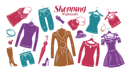 Fashion, boutique concept. Collection of fashionable womens clothing. Vector illustration Illustration