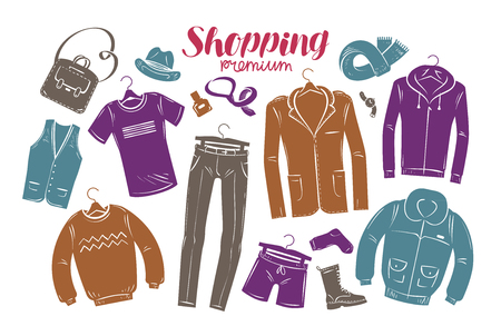 Fashion, boutique concept. Collection of fashionable mens clothing. Vector illustration