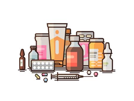 Pharmacy, pharmacology, drugstore, medical supplies banner.
