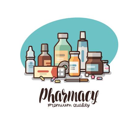 medical preparation: Pharmacy, drugstore label. Medical supplies, bottles liquids, pills, capsules icon or logo. Lettering vector illustration.