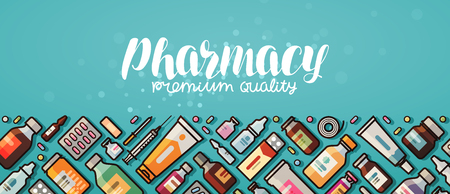 Pharmacy banner. Medicine, medical supplies, hospital concept. Vector illustration in flat style Illustration